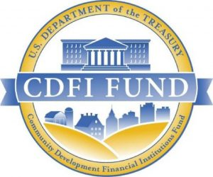 Yellow and Blue CDFI FUND logo