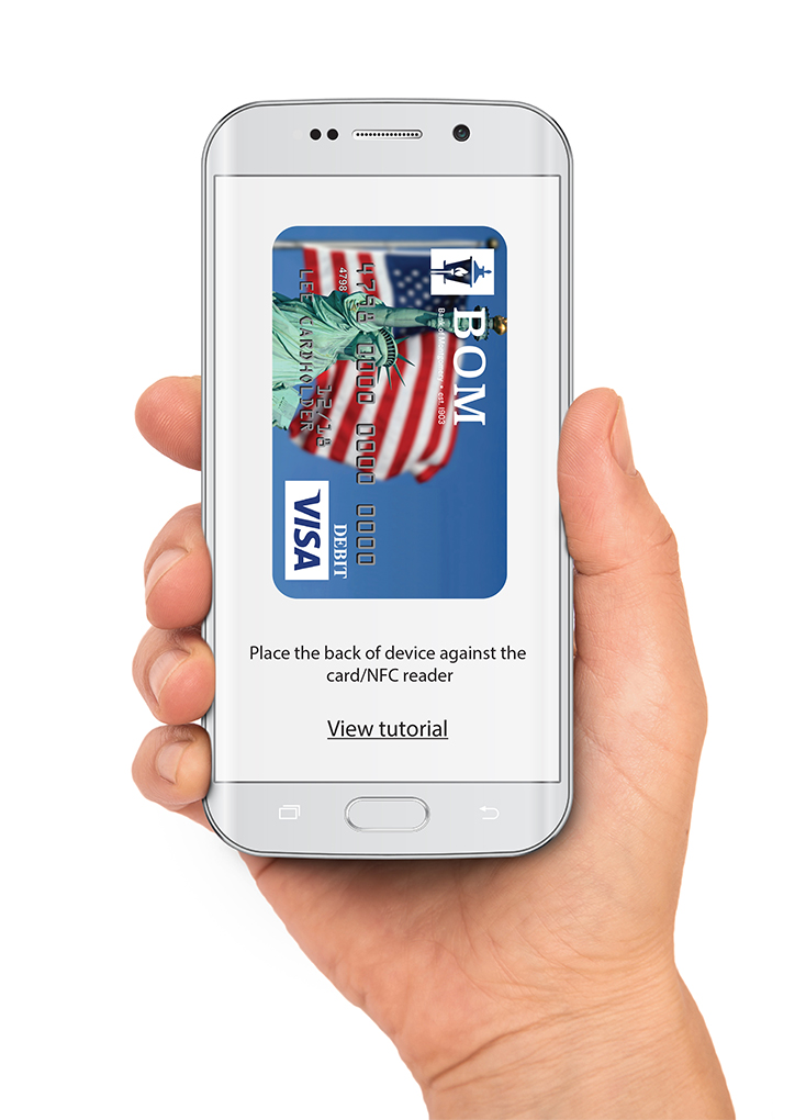 hand holding a samsung device with bom logo visa card on the screen